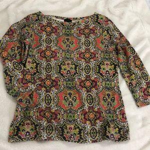 Talbots Black Label Sz Med Colorful Top Shirt NICE